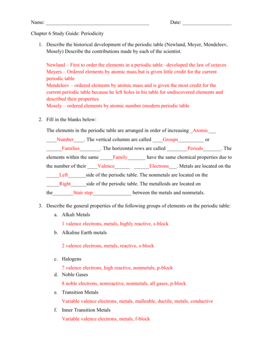 Chemistry chapter 6 the periodic table worksheet periodic chapter 6 the periodic table vocabulary review worksheet answers urtaz Gallery