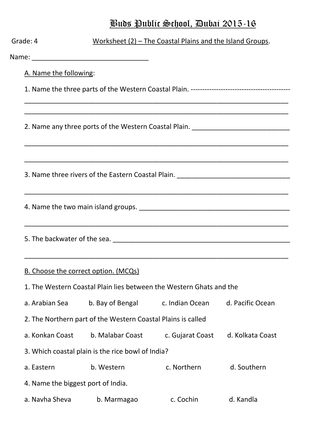 The Coastal Plains And Islands Worksheet 2