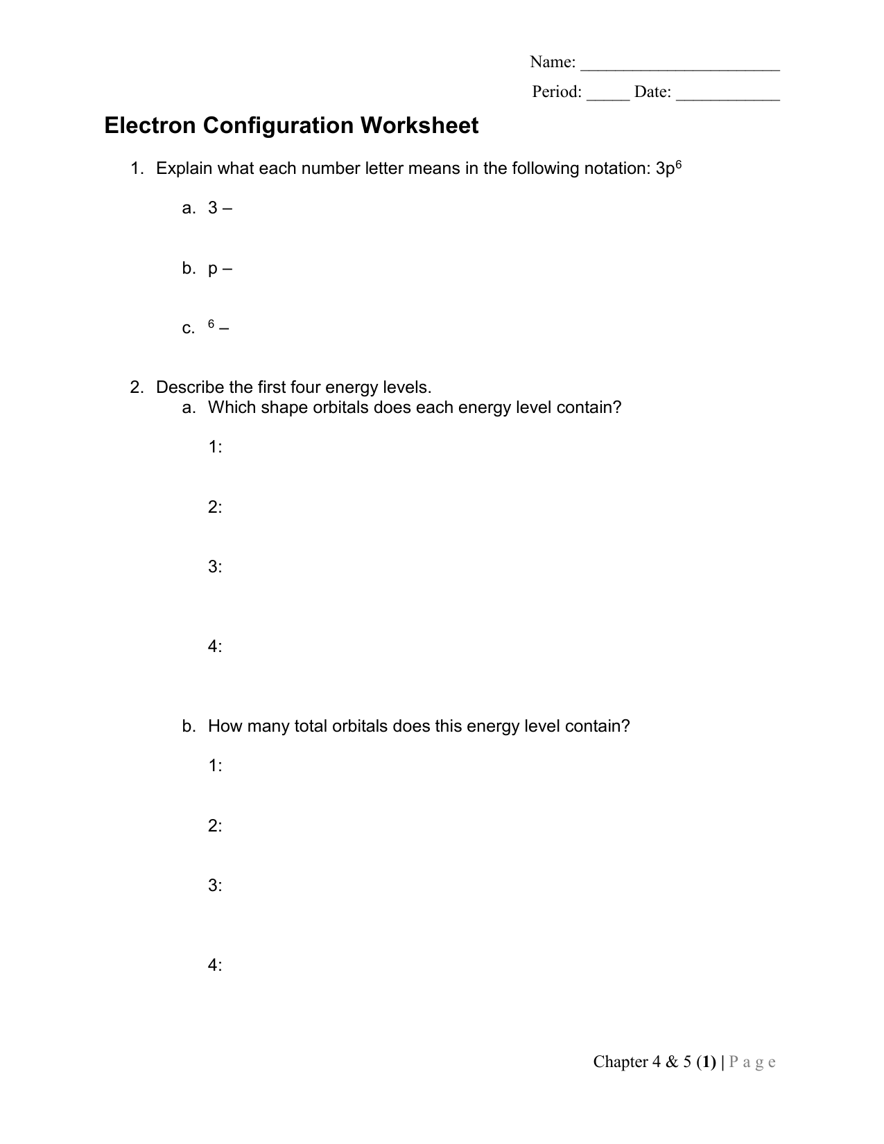 Worksheets Chapter 4 5