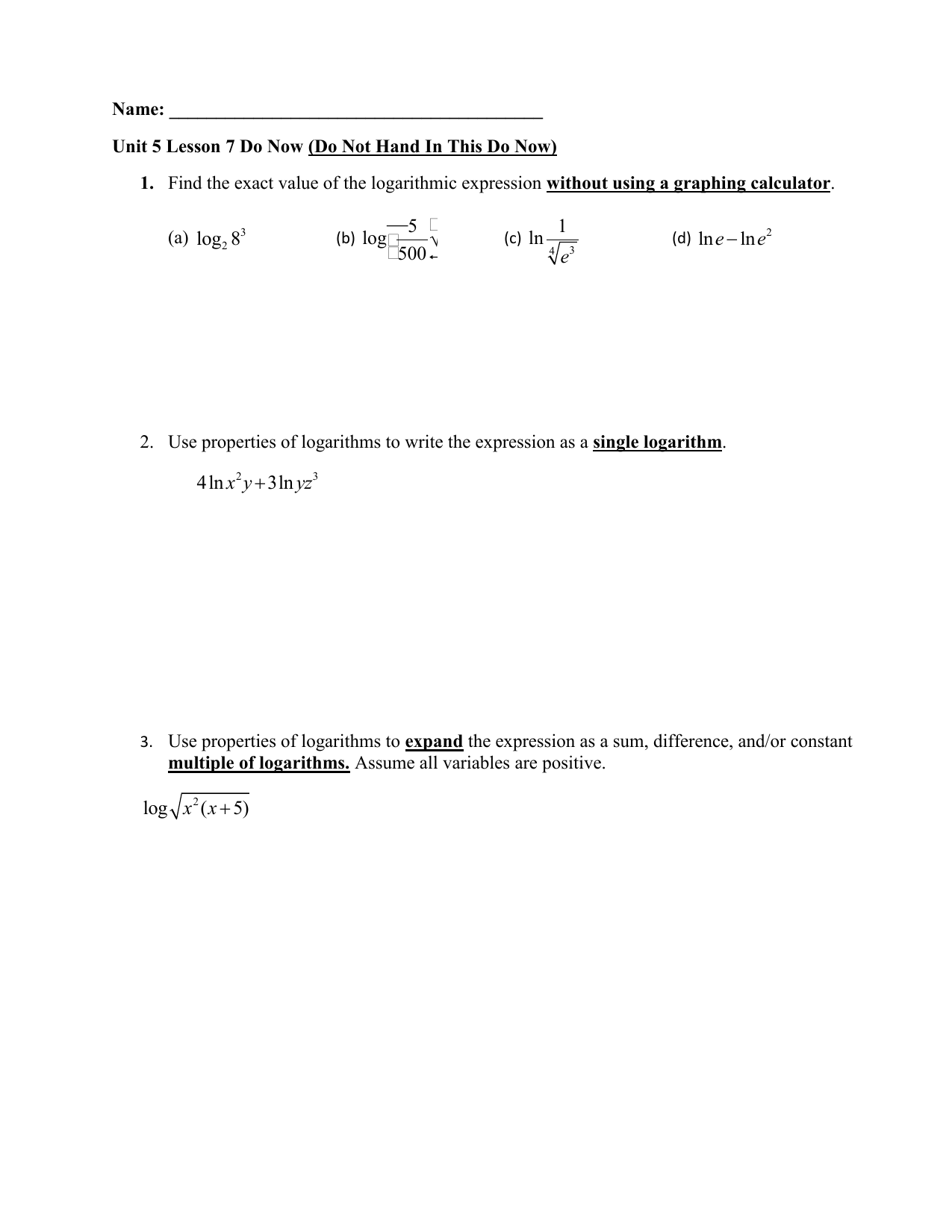 Logarithmic Equations Worksheet Doc