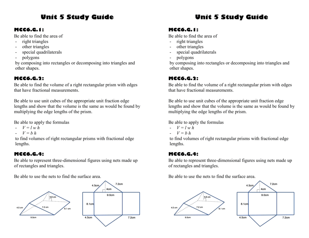 Unit 5 Study Guide Mcc6 G 1 Be Able To Find The Area Of Right