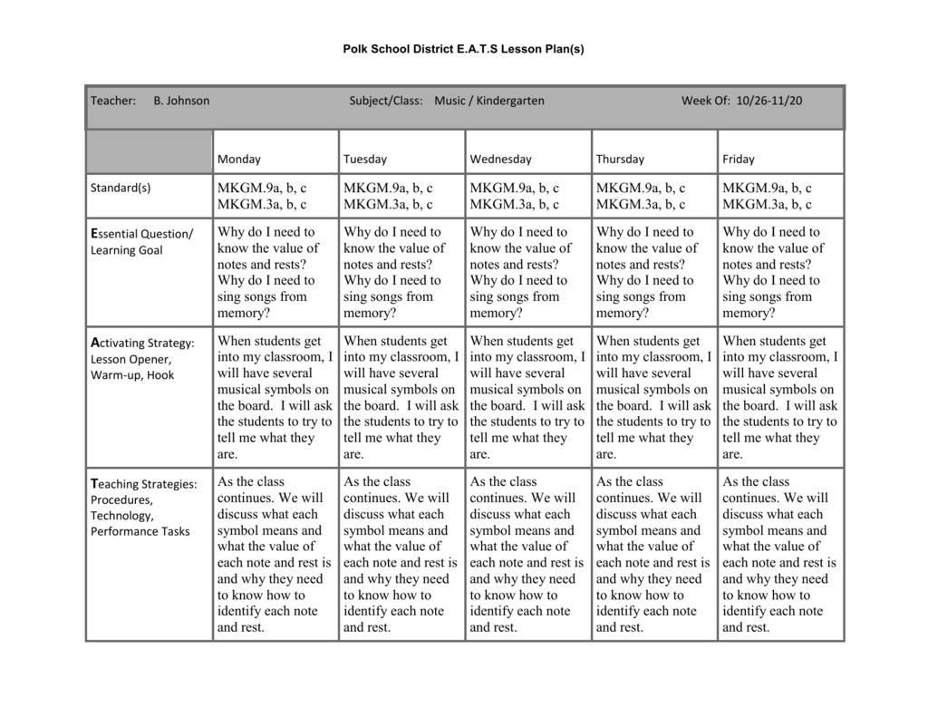 Kindergarten Lesson Plans Note And Rest Values