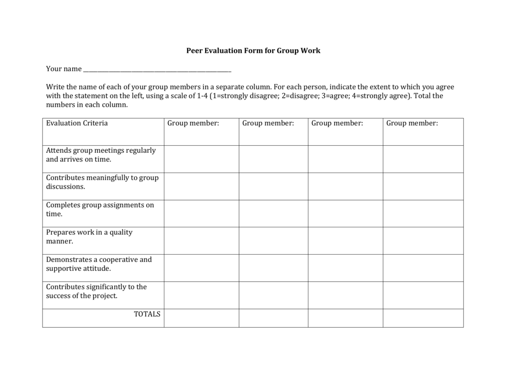 Peer Evaluation Form For Group Work