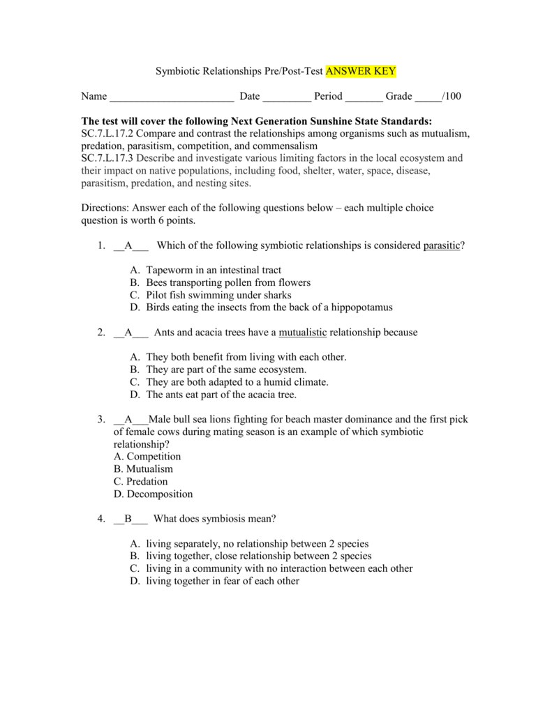 Symbiotic Relationships Worksheet Good Bud S Answers