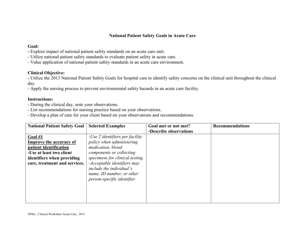 Nursing Process Worksheet Examples