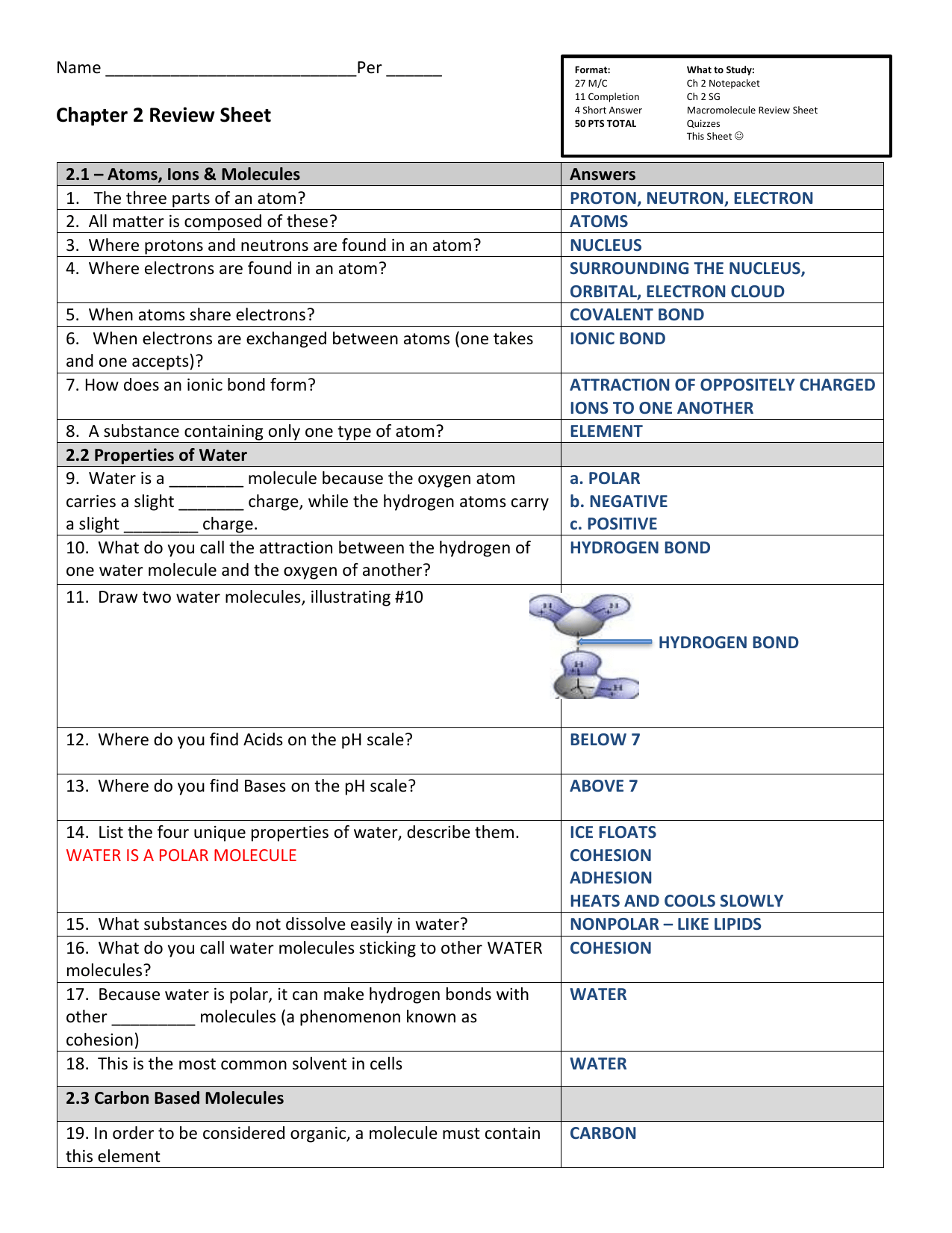Chapter 2 Review Sheet Answers