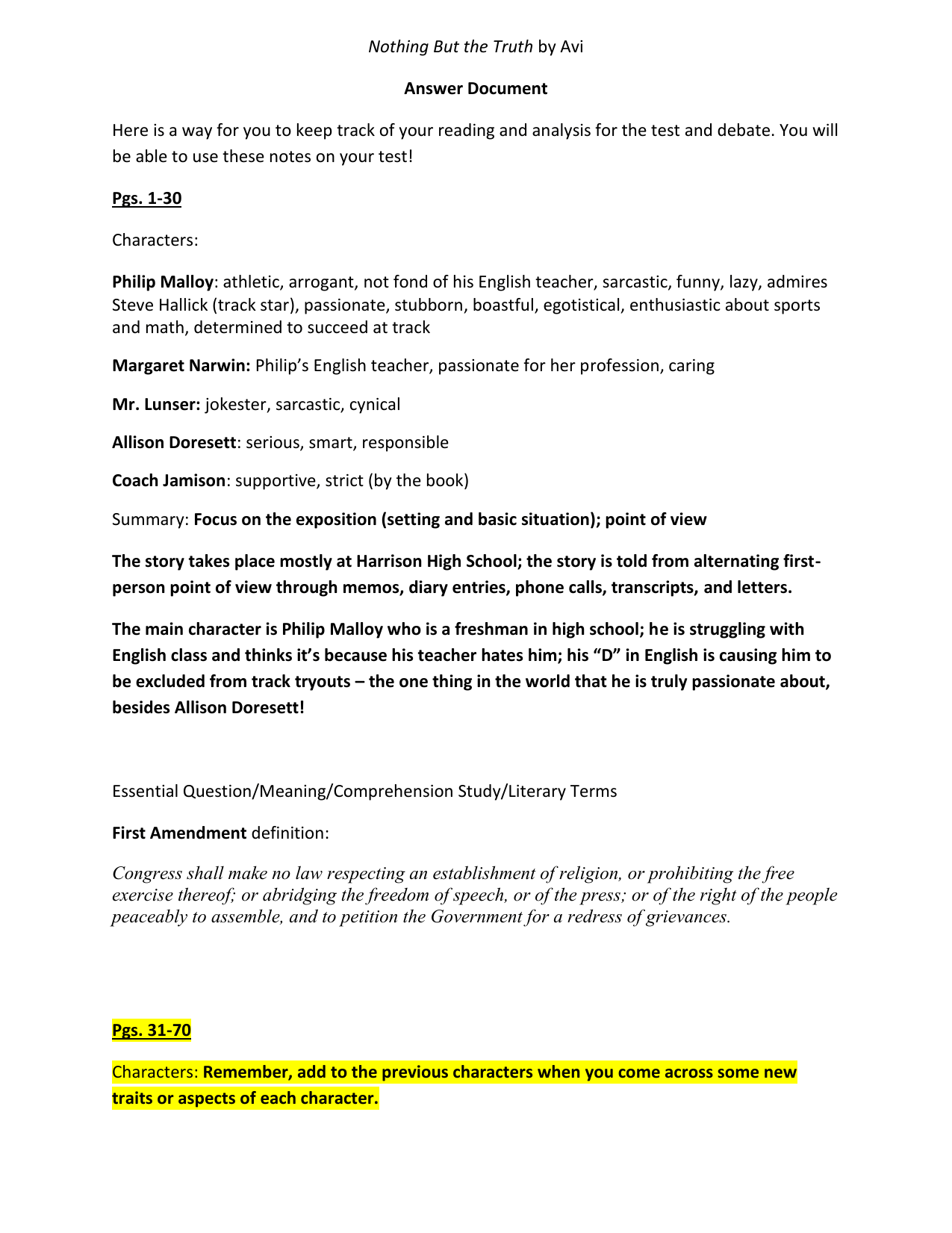 Nothing But The Truth By Avi Answer Document Here Is A Way