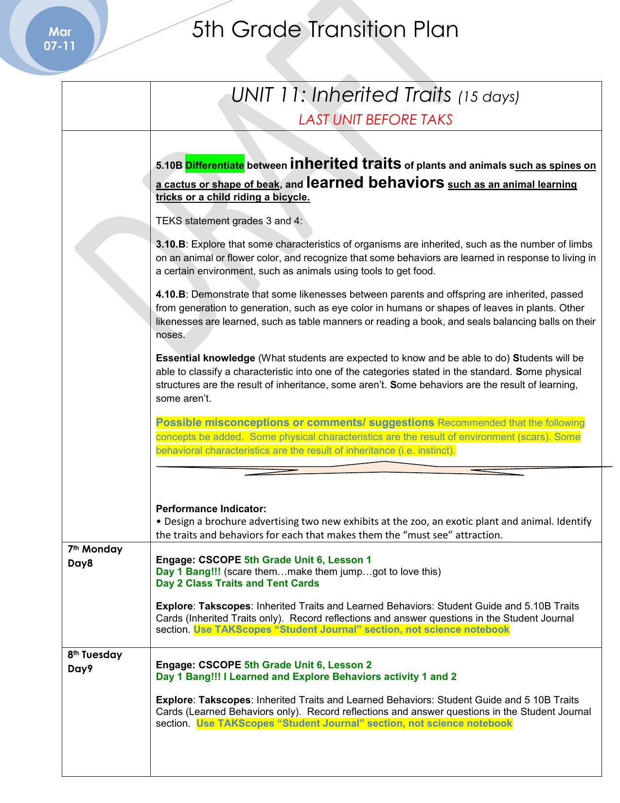 Learned Vs Inherited Traits Worksheet