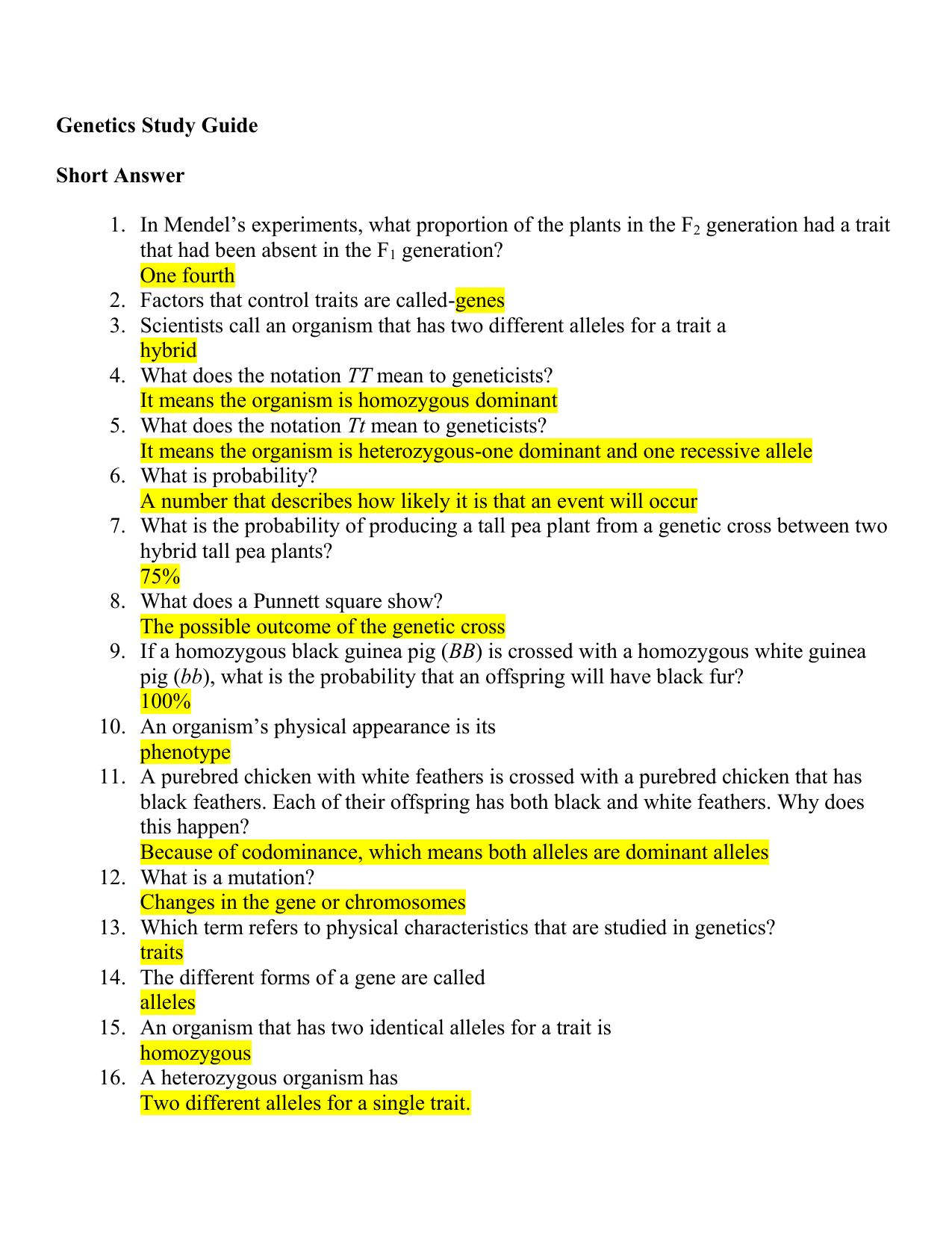 Genetics Study Guide Short Answer