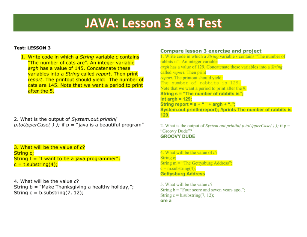 Java Lesson 3 Amp 4 Compare