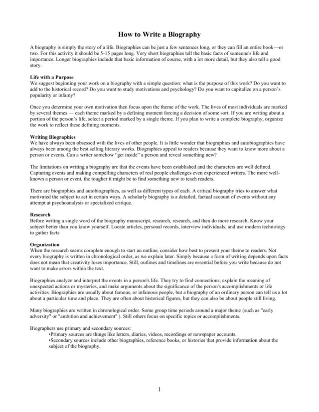 bio biography template content for biography biographer Custom bio