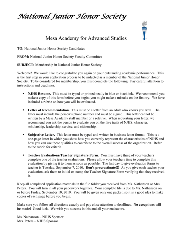 Letter Of Recommendation For Njhs