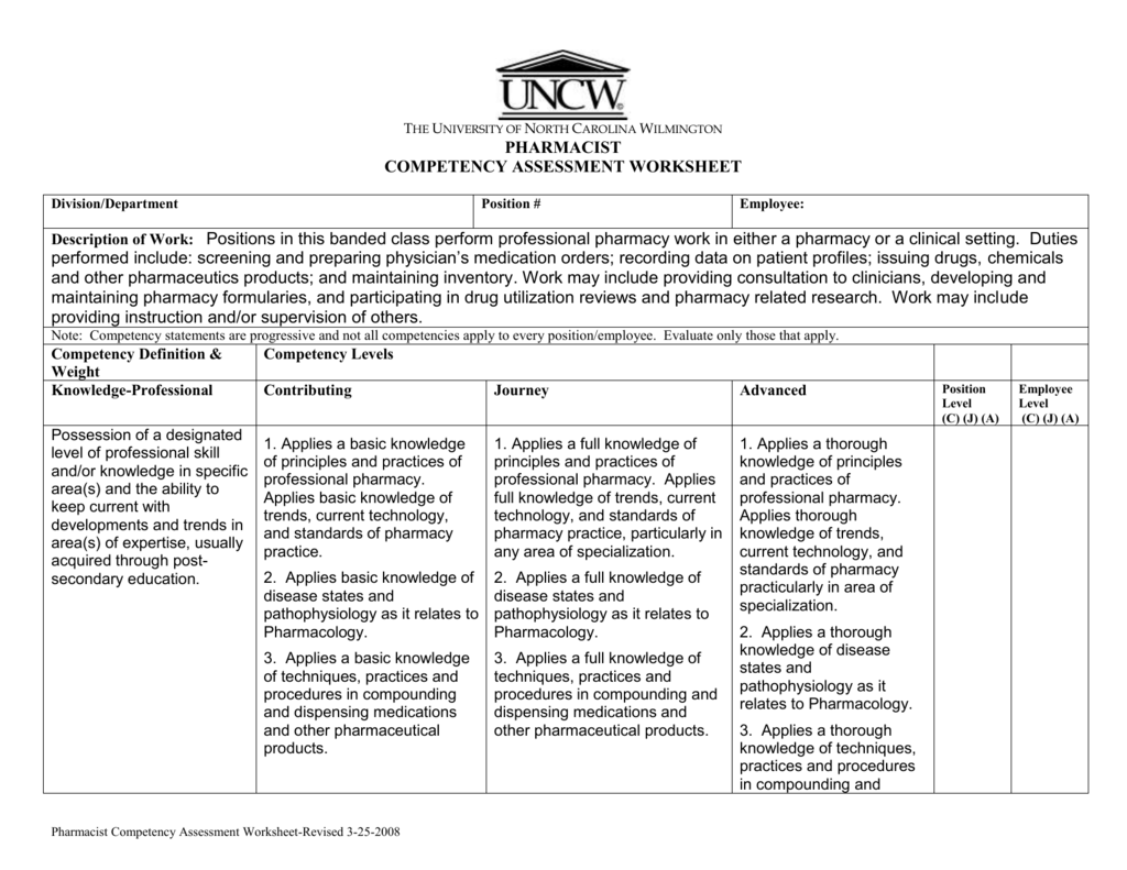 Pharmacist Competency Assessment Worksheet