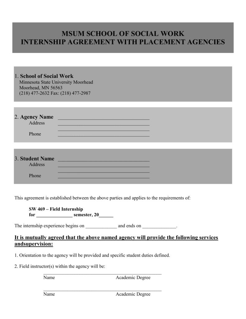 Internship Ssw Formal Agreement Form