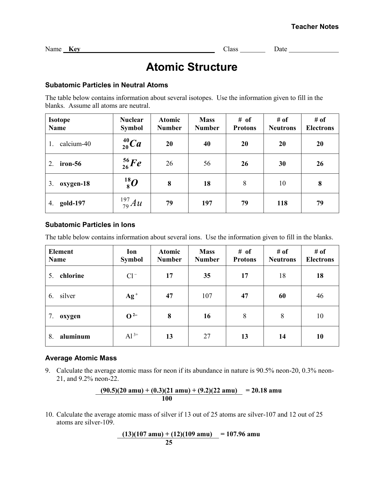 31 Atomic Structure Worksheet Answers