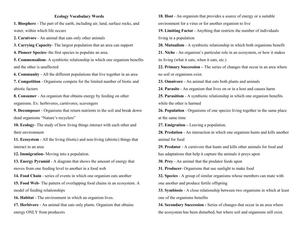 Ecology Vocabulary Choice Board