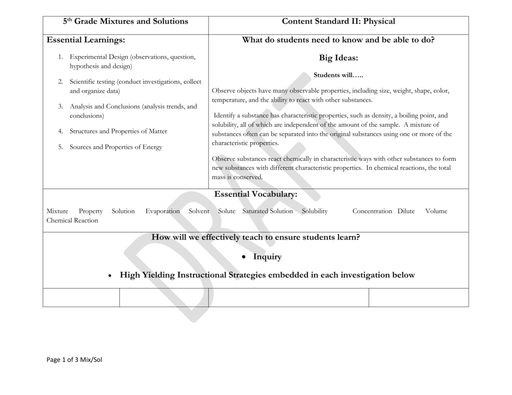 Bestseller 5th Grade Worksheet Mixtures And Solutions