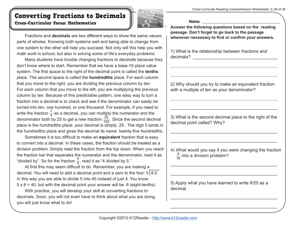 Cross Curricular Reading Comprehension Worksheets E