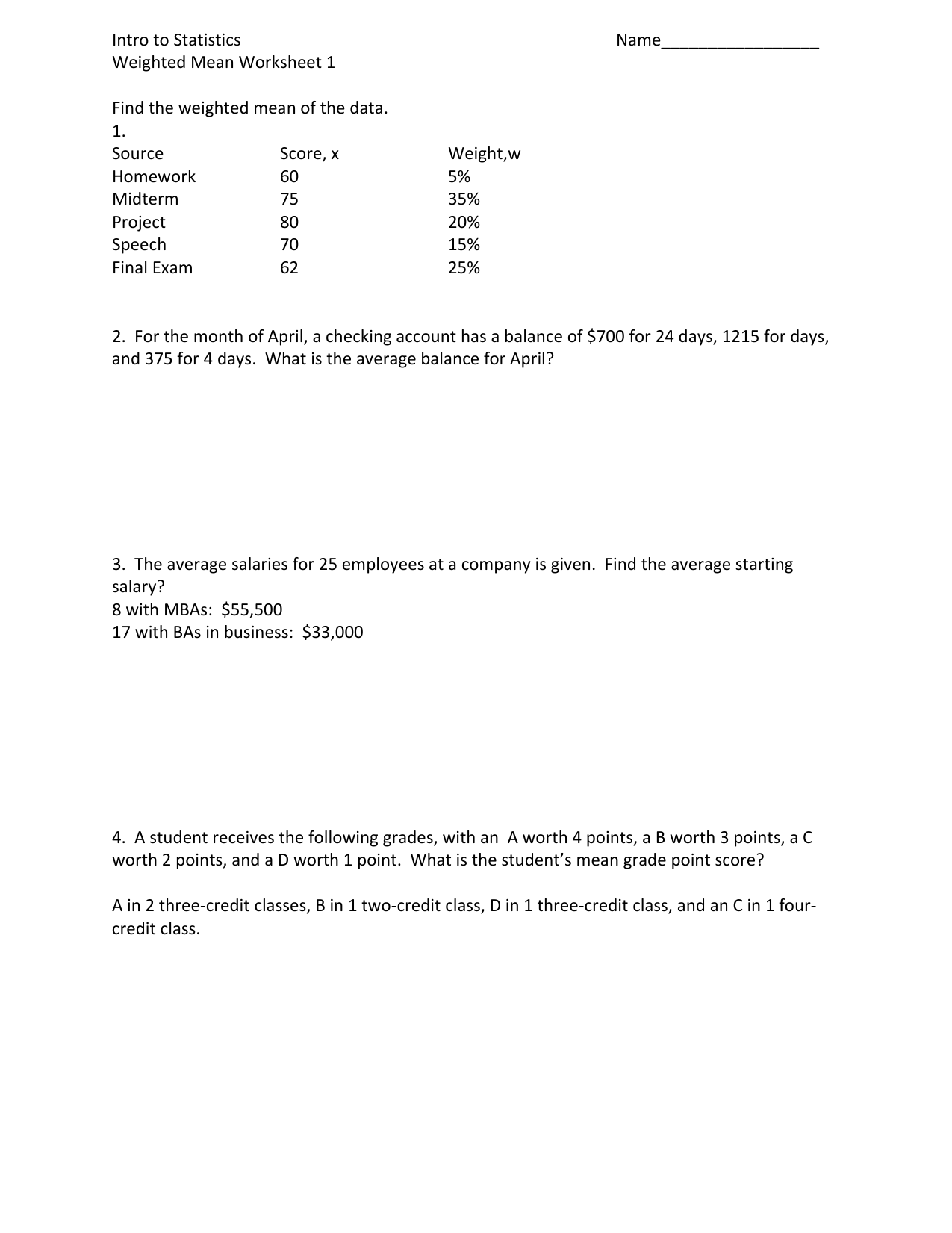Weighted Means Worksheet 1