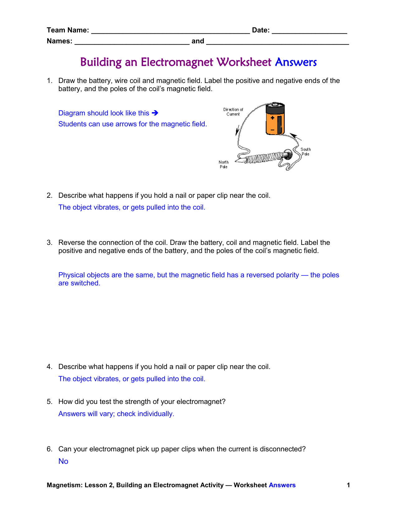 Building An Electromagnet Worksheet Answers