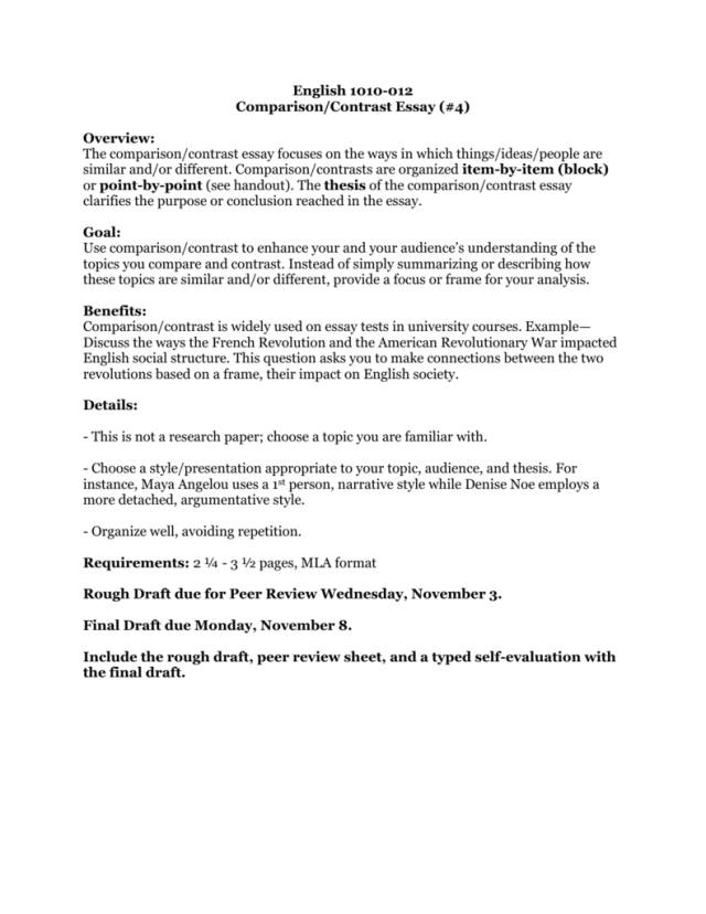 Rough Draft Comparison Contrast Essay — HOW TO WRITE EFFECTIVE