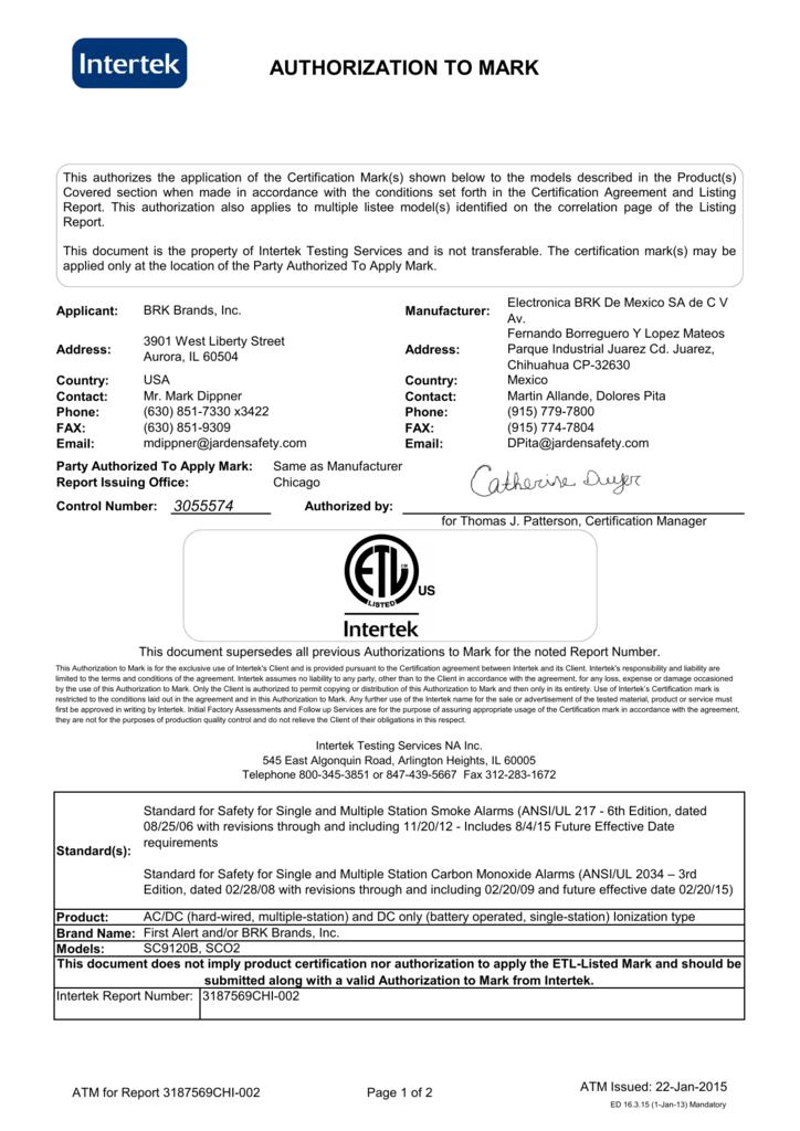 Intertek Etl Listing Card