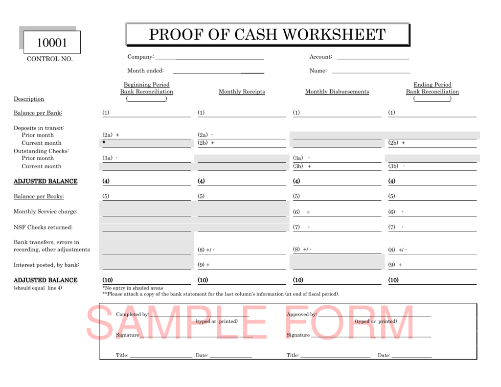 Proof Of Cash Worksheet Documentation
