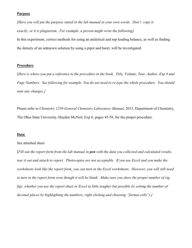 Lab Report Example - OSU Chemistry
