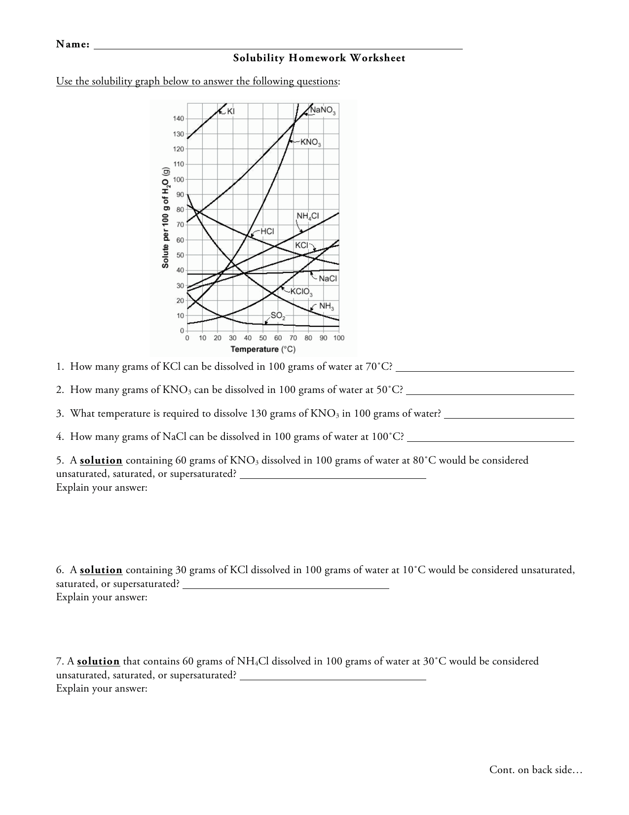 Name Solubility Homework Worksheet Use The Solubility Graph