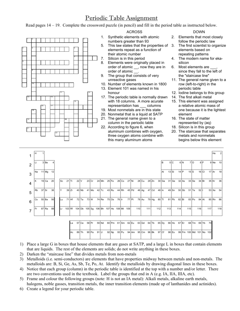 worksheet Periodic Table Puzzle Worksheet periodic table assignment crossword puzzle answers www napma net puzzle