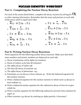 Radioactive Decay And Half Life Practice Problems