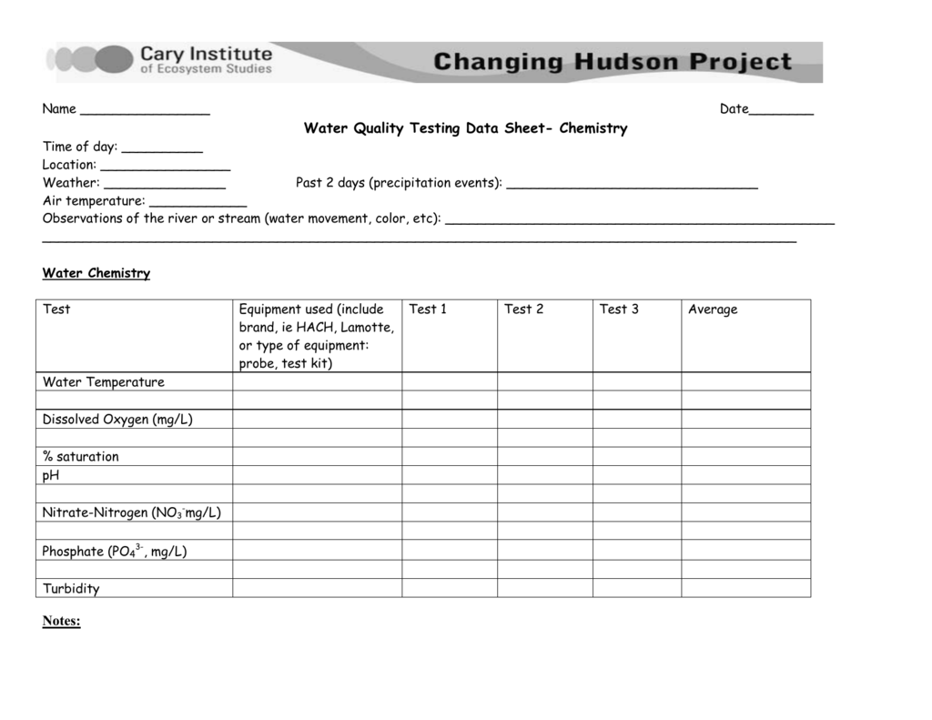 Water Quality Testing Data Sheet