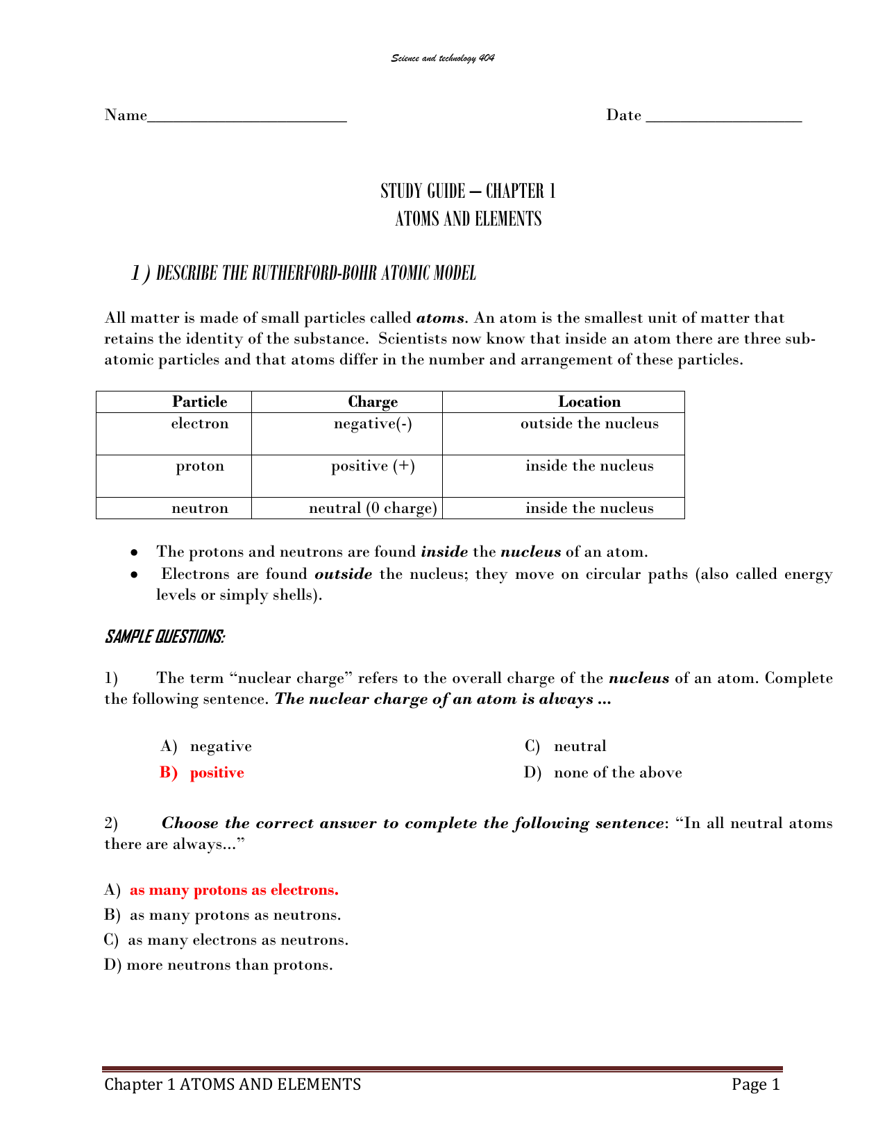 Arrangement Of Electrons In Atoms Worksheet Answers