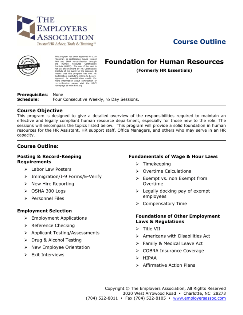Course Outline Foundation For Human Resources