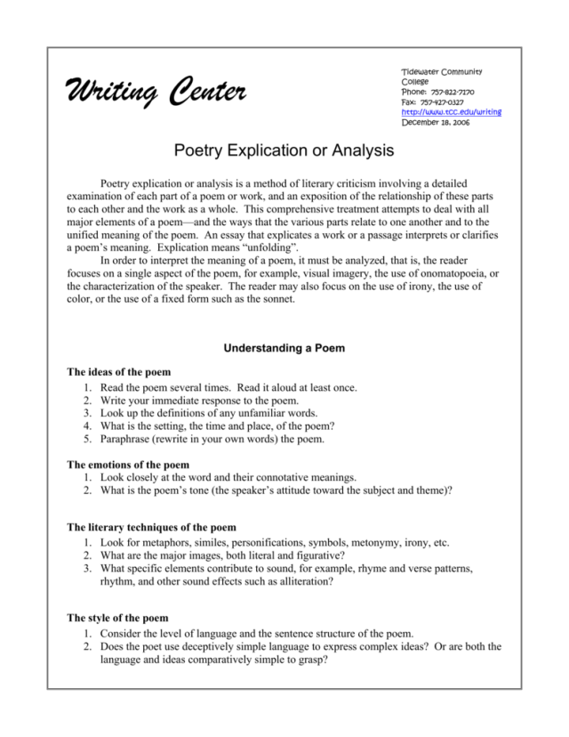 Poetry Explication or Analysis
