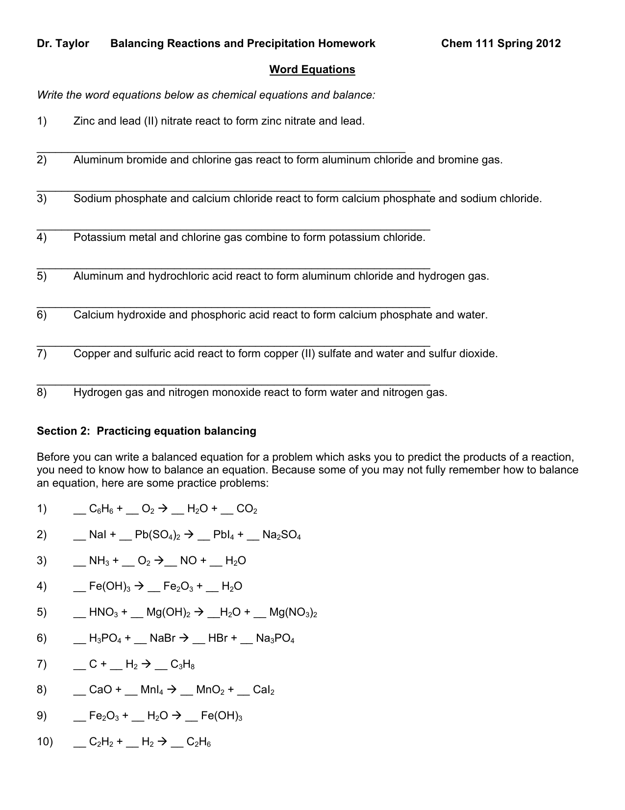 Balancing Equations Homework