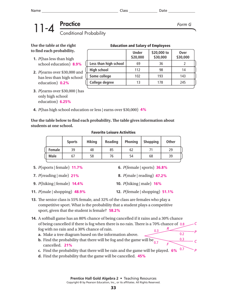 Conditional Probability Worksheet Answers