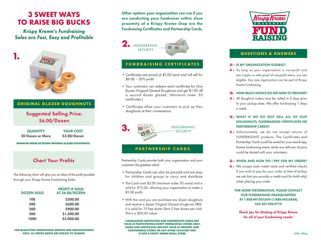 Krispy Kreme Fundraising Brochure