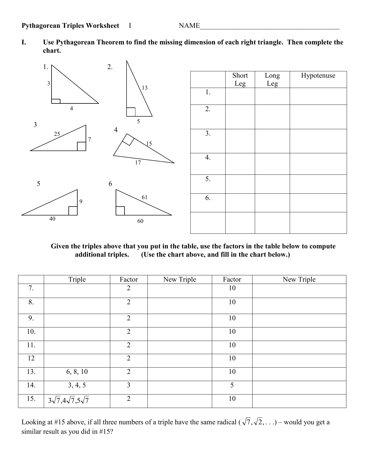 Pythagorean Triples Worksheet I