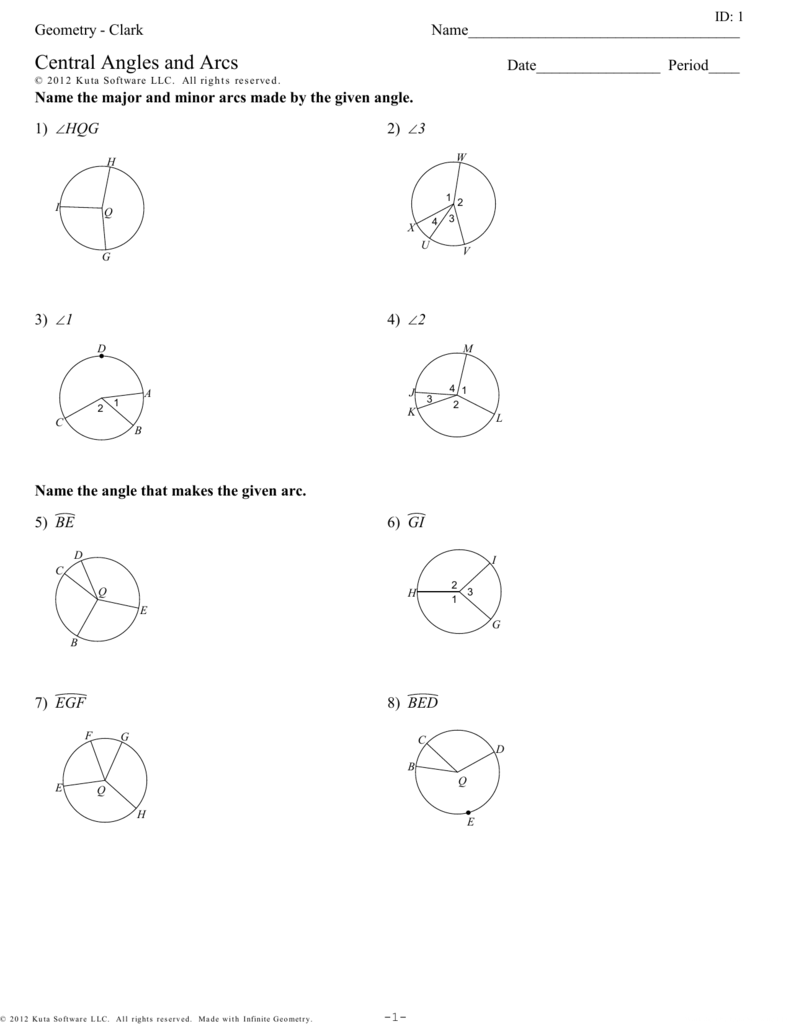Geometry Clark Central Angles And Arcs