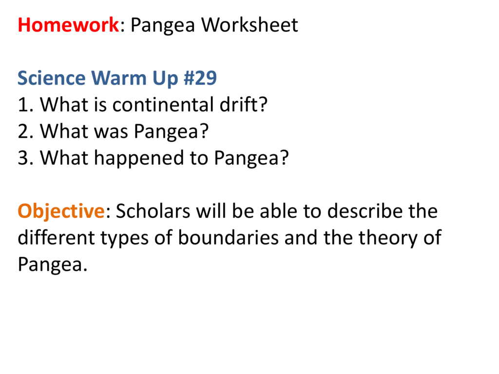 Homework Pangea Worksheet Science Warm Up 29 1 What Is