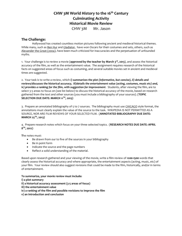 CHW18M- Culminating Assignment
