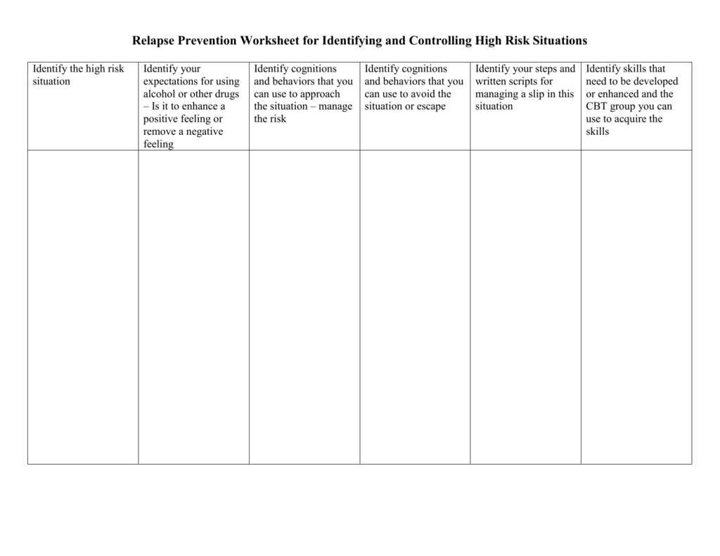 Relapse Prevention Worksheet For Identifying And