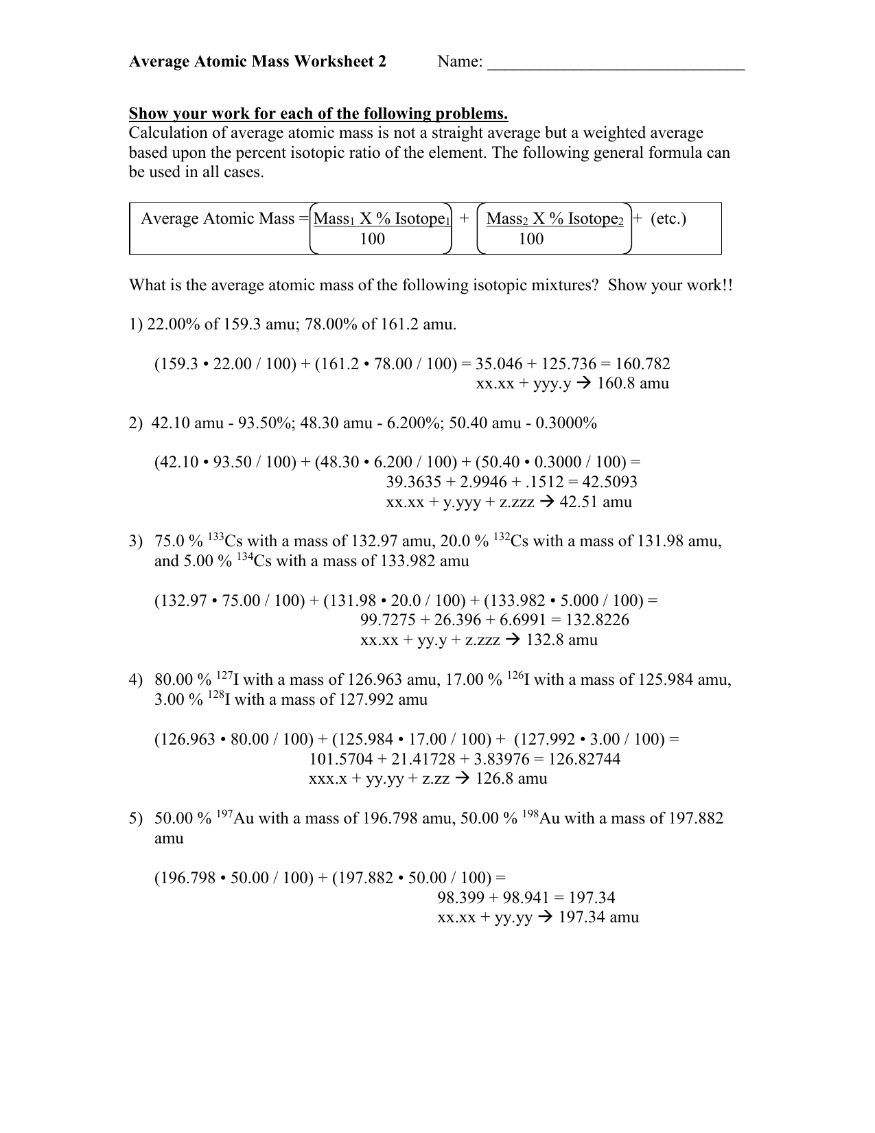 31 Calculating Average Atomic Mass Worksheet
