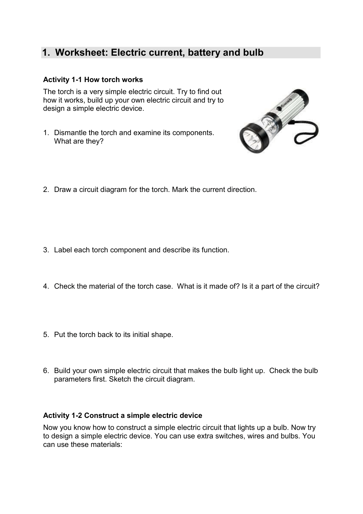 Electrical Circuit Worksheets