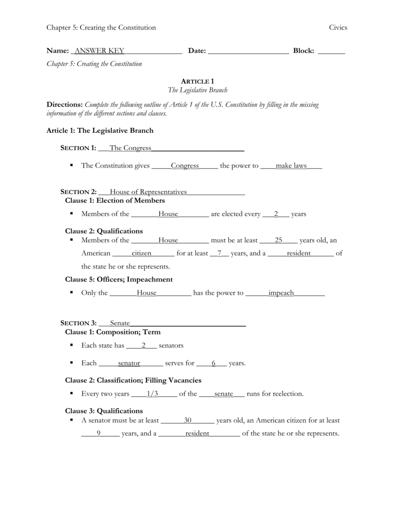Collection Of Article 1 Worksheet