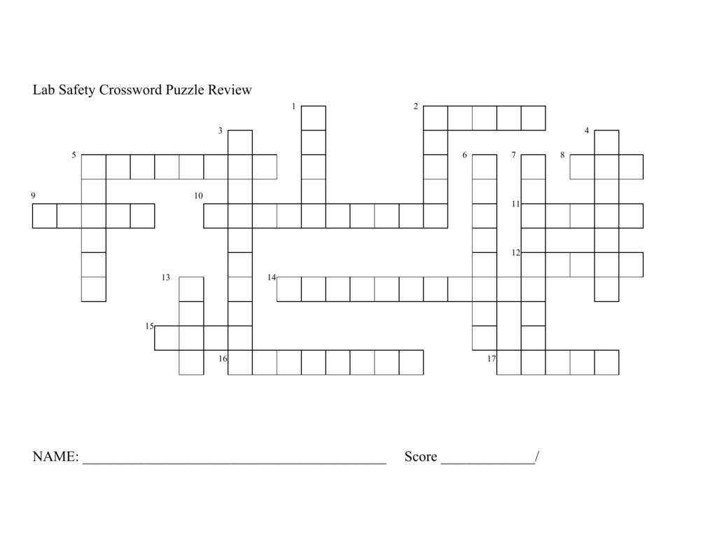Lab Safety Crossword Puzzel