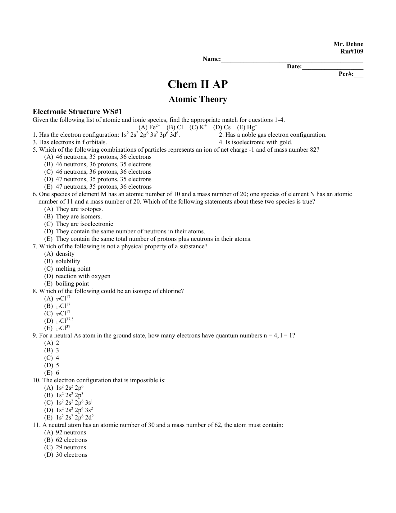 Electronic Structure Worksheet 1