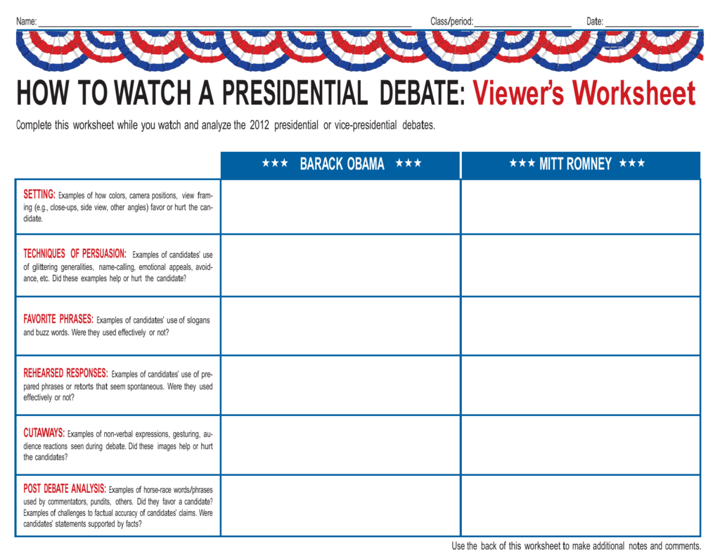 Presidential Debate Worksheet