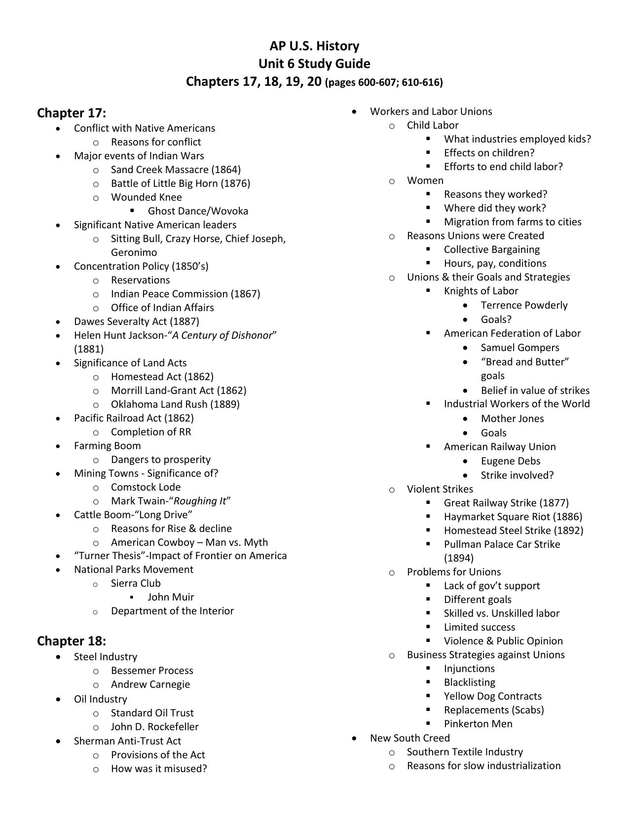 Ap U S History Unit 6 Study Guide Chapters 17 18 19 20